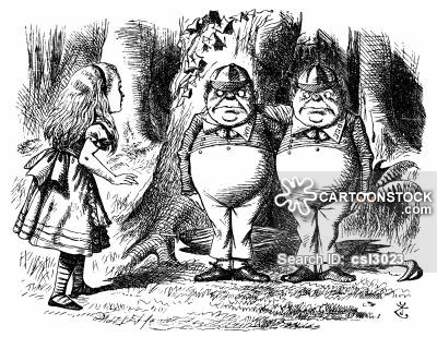 Alice Through the Looking Glass - Alice Meets Tweedledum and Tweedledee.