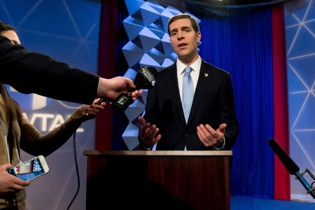 Wilkinsburg, Pennsylvania, USA. 03rd Mar, 2018. CONOR LAMB, Democratic candidate in the March 13 special election in Pennsylvania's 18th Congressional District, takes questions from the media after his debate against Republican candidate Rick Saccone at W